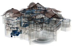 Трехмерный проект системы вентиляциии и кондиционирования коттеджа